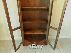 Tall 75 Natural Carved Wood CD DVD 6 Shelf Book Case China Cabinet Glass Doors