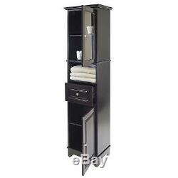 Tall Cabinet with Glass Door and Drawer Shelfs Ordanizer Corner Storage Caddy