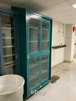 Tall Glass Lab Cabinet with Sliding Doors & Shelves, Green