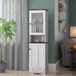 Tall Kitchen Pantry China Storage Cabinet Hutch Cupboard Glass Door White Brown