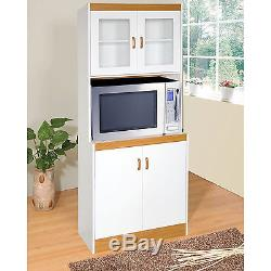 Tall Microwave Cart White Kitchen Stand Freestanding Storage Cabinet Gl Doors