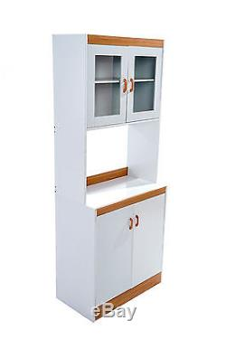 Tall Microwave Cart White Kitchen Stand Freestanding
