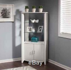 Tall White Curio Cabinet With Doors Display Storage Gl Shelves Furniture New