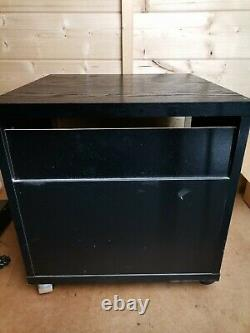 Technics Record HiFi cabinet black wood and glass with door