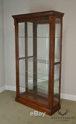 Traditional Cherry Finish Glass Sliding Door Curio Display Cabinet