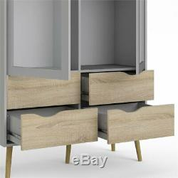 Tvilum Diana 4 Drawer and 2 Door China Cabinet in White and Oak