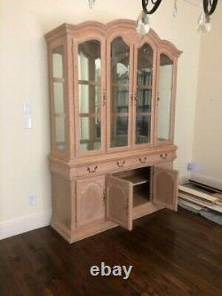 Two Piece Light Wood China Cabinet /////display With Glass Shelves L@@k