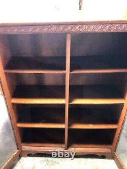 VINTAGE 30s/40s WOOD BOOKCASE/ CABINET WITH GLASS DOORS