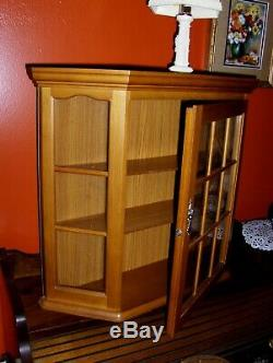 VINTAGE Wooden Cabinet Curio Rack Chest Glass Door for Spice Perfumes Medicine