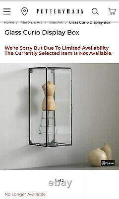 Very HTF Pottery Barn Wall Mounted Glass Curio Display Box Cabinet With Door