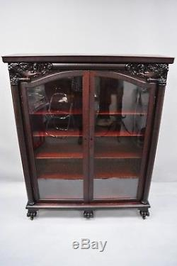 Victorian Mahogany Double Door Bookcase China Cabinet Northwind Face Paw Feet