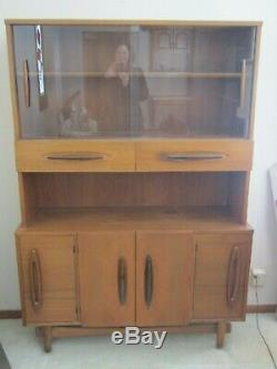 Vintage 1950's Retro China Cabinet Hutch with Sliding Glass Doors