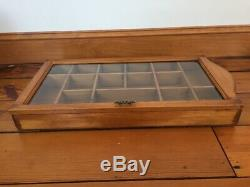 Vintage 20x11 Wall Wooden Knick Knack Curio Cabinet Shelf Box With Glass Door