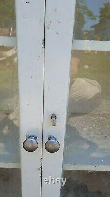 Vintage All Metal And Glass 4 Door Cabinet With Bullet Hinges & Original Glass