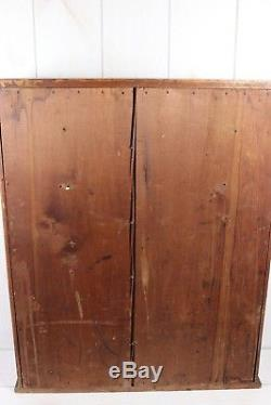 Vintage Antique Apothecary Cabinet Glass Front Doors Storage Primitive Display