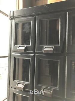 Vintage Apothecary Cabinet with Glass Doors, Black Multi Drawer Unit, Card File