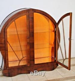 Vintage Art Deco Curio Display China Cabinet Cathedral Glass Doors Locking 1A