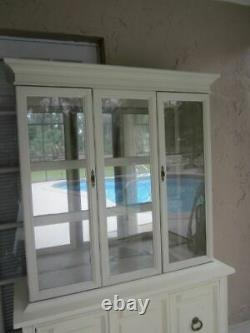 Vintage China Cabinet Glass 4 Doors 4 Shelves Stanley Style Ivory