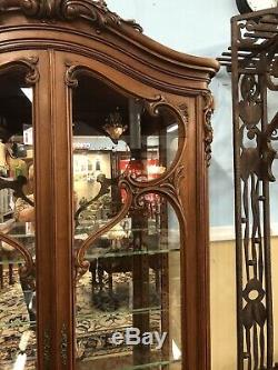 Vintage French Walnut Curio Cabinet Adjustable Glass Shelves Double Glass Doors