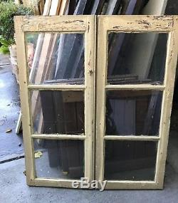 Vintage Glass Cabinet Doors/ Shutters/ Windows- Architectural Salvage 34x 40