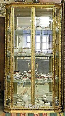 Superbe Vintage Gold Hand Carved Glass U0026 Mirrored Double Door China Curio Cabinet