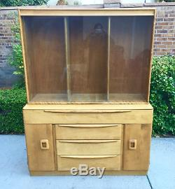 Vintage Heywood Wakefield Glass Hutch China Cabinet with Original Glass Doors