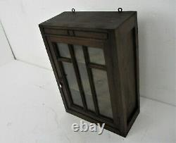 Vintage Kitchen Apothecary Bathroom Wall Cabinet Glass Door Display Carved Wood
