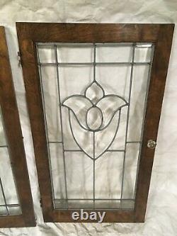 Vintage Leaded and Beveled glass cabinet doors 3