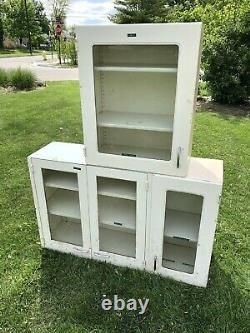 Vintage MID-CENTURY Medical SHELF Apothecary INDUSTRIAL Glass Metal WALL CABINET