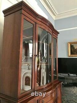 Vintage Mahogany Breakfront China Cabinet with Curved Glass Door, Excellent Cond
