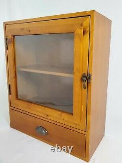 Vintage Maple Wood Apothecary Storage Cabinet Glass Door And Drawer Wall Counter