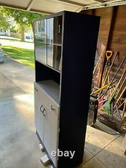 Vintage Metal Stand Cabinet Storage with Glass Doors 1950s MCM