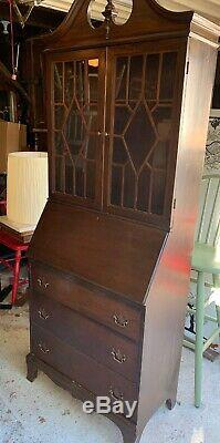 Vintage Secretary Cabinet Fold Down Desk with Hutch Glass Doors Traditional Waln