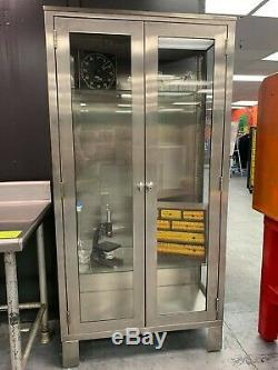 Vintage Stainless Steel Medical Cabinet with Glass Doors & Shelves