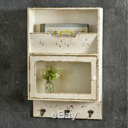 Vintage Style Distressed White Wall Cabinet WithHooks Magazine Storage Glass Door