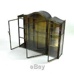 Vintage Tole Metal Curio Cabinet Wall Mounted Vitrine Glass Doors and Sides