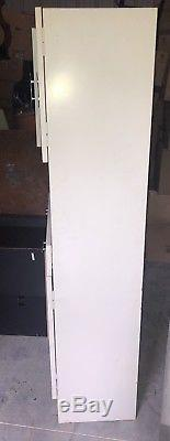 Vintage White Metal Medical Dental Apothecary Cabinet With Glass Doors Deco