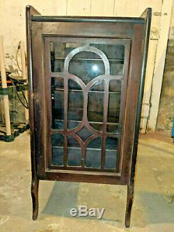 Vintage Wood Cabinet Glass Door for Piano Roll storage