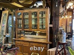 Vintage oak built-in china cabinet/hutch with wheel cut glass doors