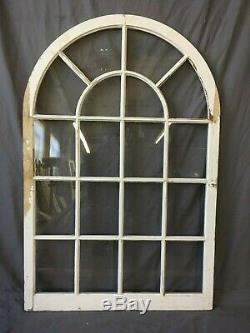 Vtg Arch Dome Top Door 30x45 Window Cabinet 18 Lite Shabby Old Chic 209-19E