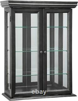 Wall Curio Cabinet Display Case Glass Shelves Doors Wood Hanging Hardware Mirror