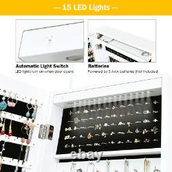 Wall Door Mount Jewelry Cabinet Armoire Organizer Box with Mirror LED Light