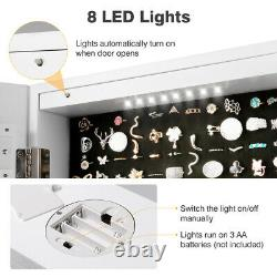 Wall/ Door Mounted Jewelry Armoire Lockable Cabinet Organize LED Lighted Mirror