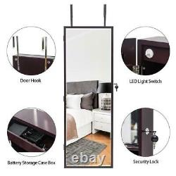 Wall/ Door Mounted Jewelry Cabinet Armoire Jewelry Box Organizer with Mirror LED