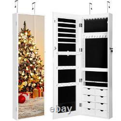 Wall Door Mounted Jewelry Cabinet LED Lighted Armoire Jewelry Organizer Mirror