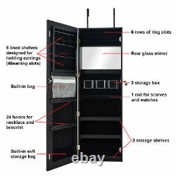 Wall&Door Mounted Jewelry Cabinet Mordern Jewelry Box Armoire withFrameless Mirror
