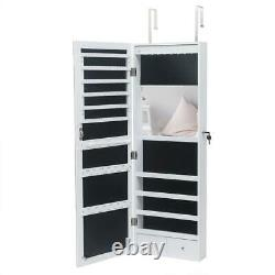 Wall Door Mounted Mirror Jewelry Cabinet Armoire Organizer with LED and Mirror