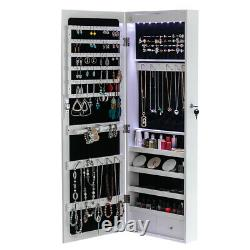 Wall Door Mounted Mirror Jewelry Cabinet Lockable Armoire Organizer &8 LED Light