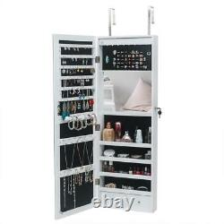 Wall Door Mounted Mirror Jewelry Cabinet Lockable Armoire Organizer withLED&Mirror