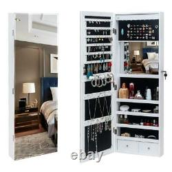 Wall Door Mounted Mirror Jewelry Cabinet Lockable Armoire Organizer withLED White